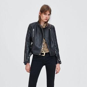 Quilted Moto Belted Black Vegan Leather Jacket